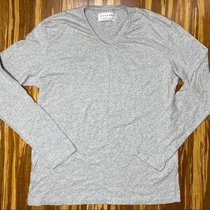 Mens ZARA V-Neck Long Sleeve Relaxed Fit Shirt